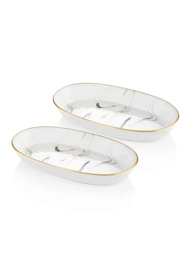 The Mia Lucid Oval Servis - 2li Set -17x30x4 Cm Gri Gri